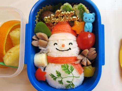 クリスマス☆簡単!サンタさんの雪だるま弁当☆