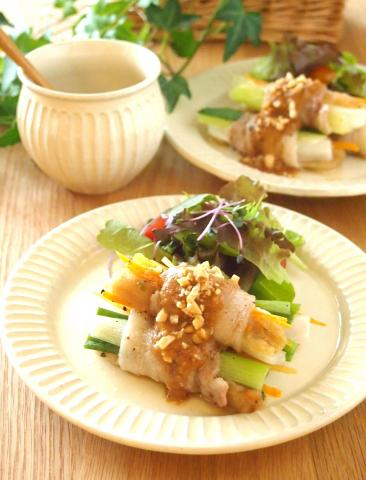 卯の花餅っちり☆野菜シャッキリ豚巻き
