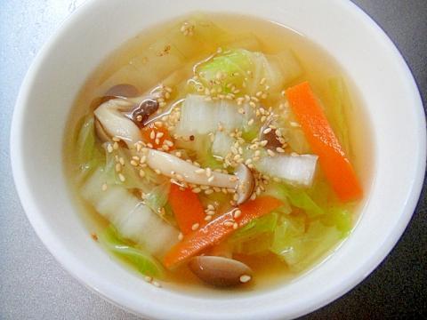 白菜としめじの和風スープ