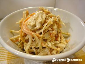 鶏ささみとゴボウのサラダ(ゆで汁もスープに♡)
