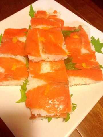 パーティーに!☆スモークサーモンの押し寿司