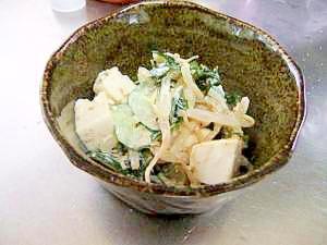 節約レシピ☆ 豆腐ともやしとワカメのゴマヨサラダ