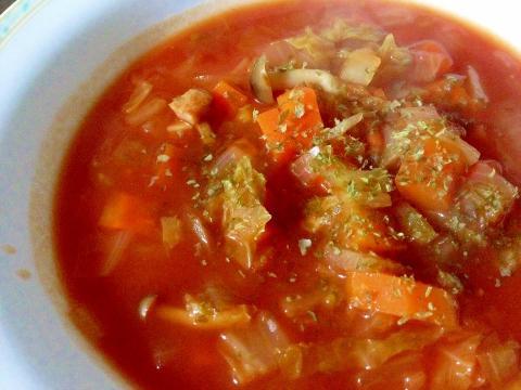 トマトジュースで作る「ミネストローネスープ」美味♪