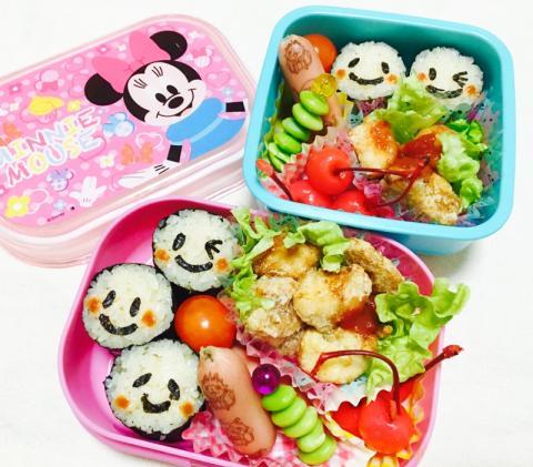 ニコちゃん海苔巻きとコロコロ焼唐揚げお弁当♡