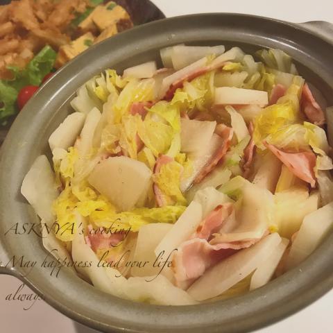 白菜とベーコンのミルフィーユ鍋